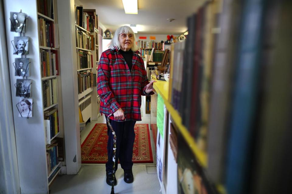 Eugenia Kaledin viewed her former husband's books at Barrow Book Store in Concord.